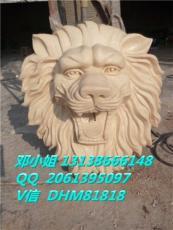狮子头墙壁喷水件人造岩沙孔雀鱼流水盆雕塑