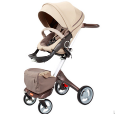 婴儿推车高景观欧洲四轮双向咖啡色标准版