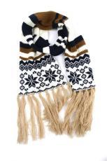 宁波景余帽子围巾手套工厂圣诞提花针织围巾