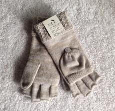 宁波景余帽子围巾手套工厂针织半指翻盖手套
