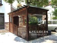 防腐木葡萄架花架 碳化木地板柵欄 花箱花池