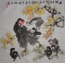 津门著名画家刘旭东四尺斗方花鸟画