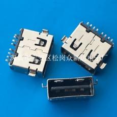 正反插USB A母沉板3.9mm直邊雙面插SMT黑膠