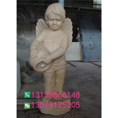人造砂岩欧式喷水儿童天使雕塑酒店水景喷泉