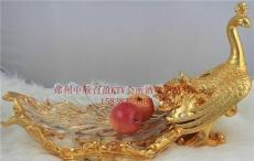 歐式家居果盤樹脂電鍍鳳凰配玻璃盤奢華孔雀