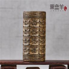 黑盤羊純手工雕刻 天珠加里曼丹 老料手把件