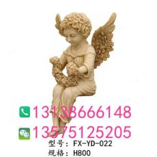 别墅欧式沙雕坐柱墩上拿花环砂岩小天使雕塑