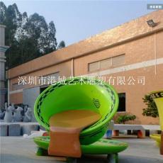 广东江门商业街迎宾玻璃钢茶杯休闲椅雕塑