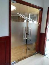 深圳市福田玻璃门办公室玻璃门玫瑰金玻璃门