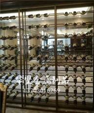 華堅定制酒莊酒水擺放黑鈦金酒柜餐廳酒架