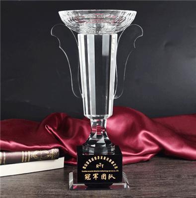 微商年度表彰优秀员工奖座 玻璃水晶奖杯