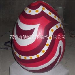 创意彩绘玻璃钢鸡蛋形雕塑