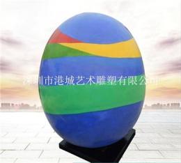 现代生活的完美彩绘玻璃钢鸡蛋雕塑