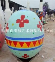 城市景观彩绘玻璃钢鸡蛋雕塑