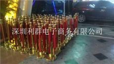 深圳钛金色圆头挂红绒绳迎礼宾栏杆柱出租赁
