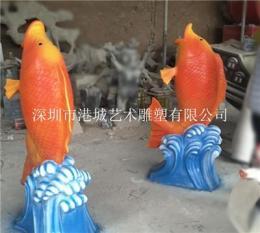 景观装饰大型玻璃钢仿真鲤鱼雕塑
