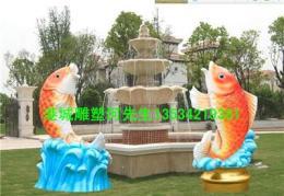 成都酒店别墅景观美陈水景玻璃钢鲤鱼雕塑