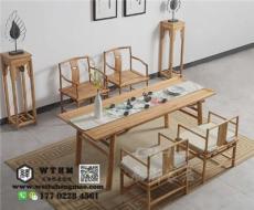 天津榆木家具 免漆实木方形餐桌 展示柜