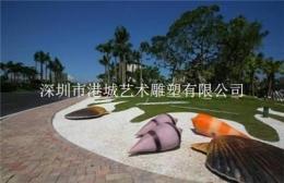 房地产打造海洋场景玻璃钢贝壳海螺雕塑