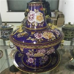 直径30cm 景泰蓝木炭火锅 传统火锅 铜火锅