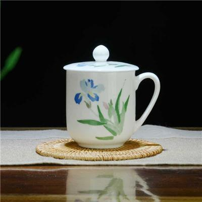 大会堂专用茶杯 常委杯带盖醴陵釉下五彩瓷