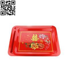 婚庆红盘 红方盘 不锈钢双喜方盘大红色