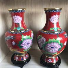 景泰蓝花瓶一对 纯手工制作