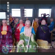 树脂佛像批发彩绘十八罗汉神像