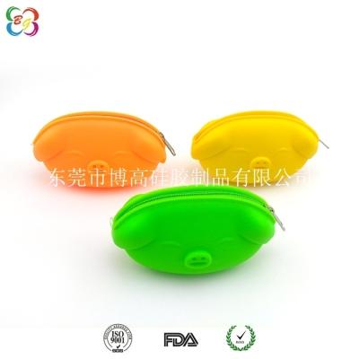 供应上海博高韩版风范硅胶钱包 小猪硬币包