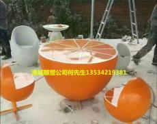 深圳玻璃钢水果橙子休闲椅雕塑