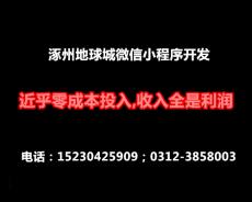 涿州地球城微信小程序開發 近乎零成本投入