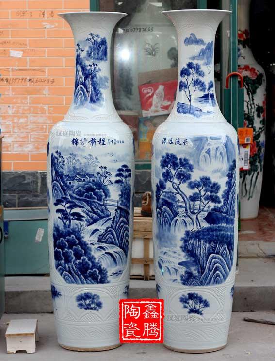 供应2米青花大花瓶手工大花瓶价格