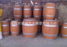 酒家仿古铜酒桶造型雕塑宣传道具价格