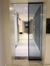 佛山黑色阳台客厅隔断一字型极简钢化玻璃门