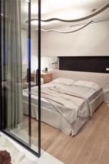 哑光黑氧化白细边框铝合金极简钢化玻璃门