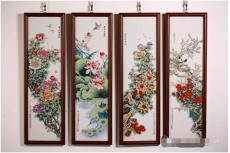 张松茂四季花卉粉彩瓷四条屏粉彩瓷