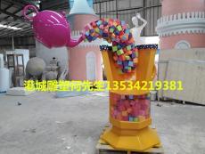 湖南商场美陈装饰玻璃钢糖果色杯子雕塑