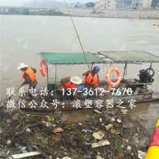 掛網塑料浮筒垃圾攔截浮排設施