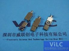 USB3.1帶板TYPE-C公頭/焊線式轉3.0USB公座