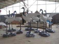 惠州碧桂园花园小区大门水池玻璃钢仙鹤雕塑