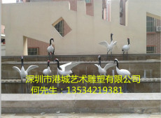 廠家直銷水景公園綠地動物玻璃鋼仙鶴雕塑