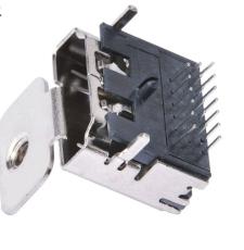 A型HDMI高清接口19P母座三排针插板单耳固定