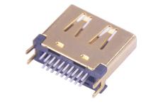 180度夹板HDMI 19P连接器母头 铜壳 带夹脚