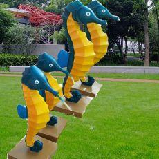 供应户外园林景观玻璃钢海马雕塑定制公司