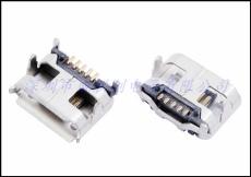 MICRO USB 5P母座大牛角四脚DIP 直边/卷边
