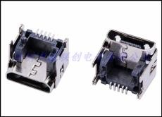 MICRO USB 5P墊高母座 加高型插件式 有柱