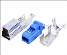 三件套B公 USB3.0連接器 焊線式B型公頭藍色