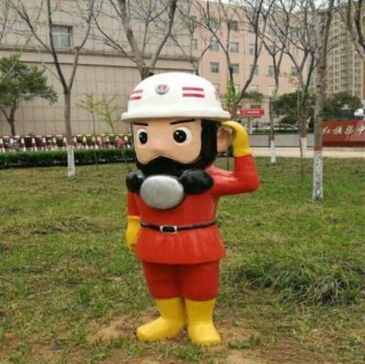 大浪街道消防战士英雄造型玻璃钢卡通雕塑