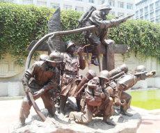 供應景區廣場公園玻璃鋼消防戰士人物雕塑