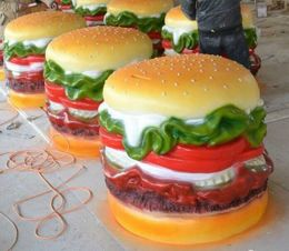 供应湖南玻璃钢面包汉堡包可乐薯条雕塑